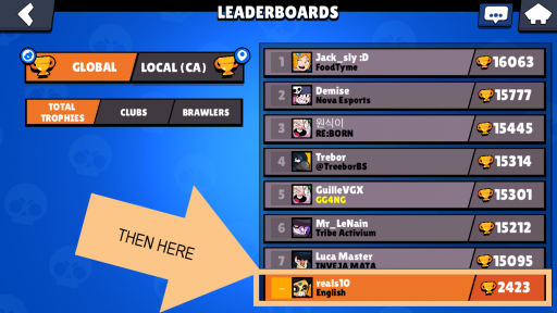 where to tap in the leaderboards page