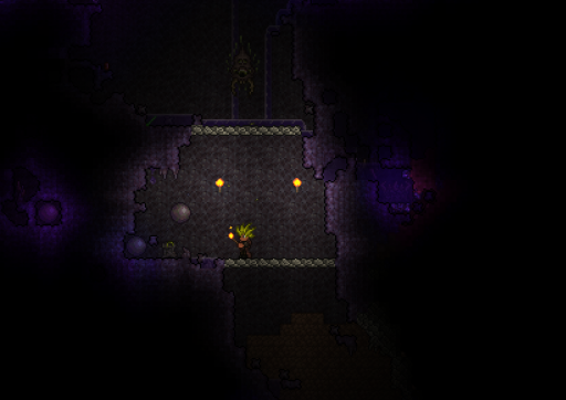terraria shadow orb item within the corruption biome