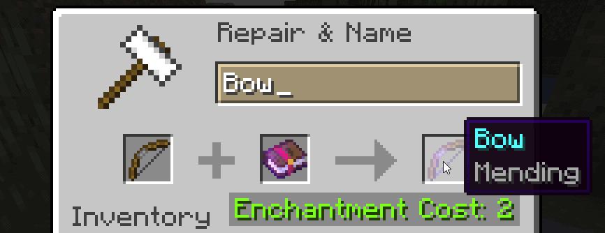 minecraft mending bow enchantment